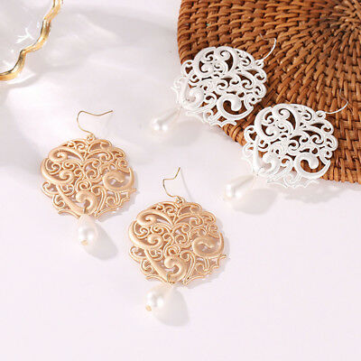 Women Vintage Round Hollow Alloy Imitation Pearl Dangle Drop Stud Earrings