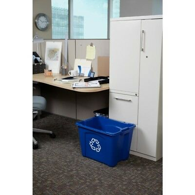 14 Gal. Blue Recycling Bin Rubbermaid Stacking Recycle Bin Large Plastic Contain