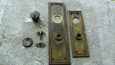 Old Vintage Antique Brass Escutcheon Door Lock Key Hole Cover Plate