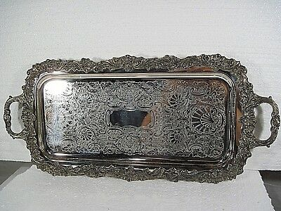 Vintage Large Sheffield Silver Plate Serving Tray w/ feet 25""