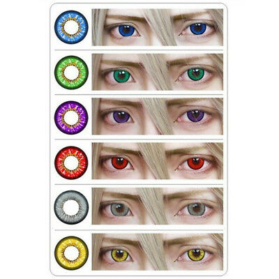 1 Pair Colored Big Eyes Circle Contact Lenses Halloween Con Clase LJY