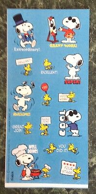 Vintage HALLMARK Snoopy & Woodstock Sticker Sheet~Peanuts~SCHULZ~Reward Stickers