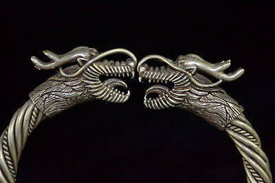 Antique Chinese Old Tibet Silver Handwork Rare Collectible Pair Dragon Bracelet