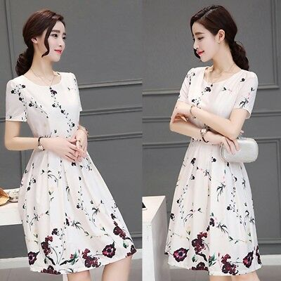 Fashion Women Summer Short Sleeve Dress Lady White Floral Evening Party Cocktail