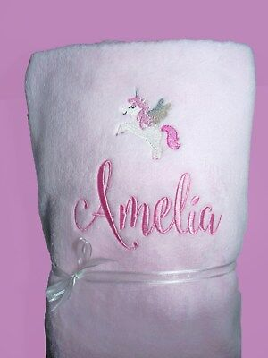 Personalised Baby Blanket Cot Pram Unicorn  Any Name 75cmx 90cm Gift Embroidery