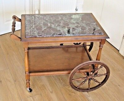 Old vintage mid century Marble top cocktail drinks hostess trolly cart
