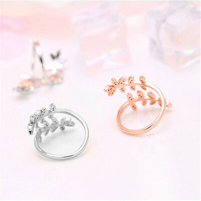 Rhinestone Leaf Ring Olive Tree Branch Bypass Wrap Round Pave Open Ring BS