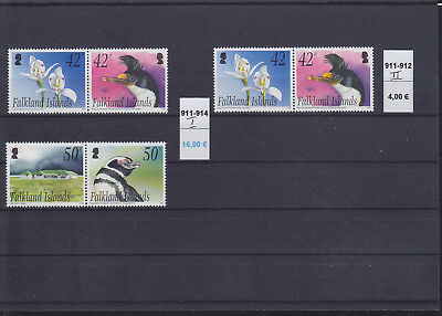 066529 Pinguine Penguins Falkland Islands 911-14 I + 911-12 II ** MNH Year 2004