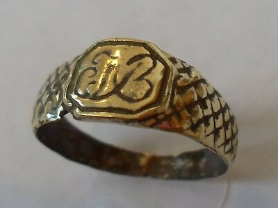 Christmas Gifts,polished,detector Find,medieval/byzantine Ring With Letter (A.b)
