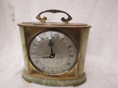 Vintage Tempora Onyx And Brass Battery Driven Mantel Clock
