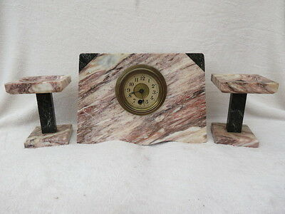 Antique French Marble Clock Garniture For Tlc