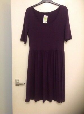 Marks And Spencer Ladies Purple T Shirt Type Dress Size 12 Bnwt