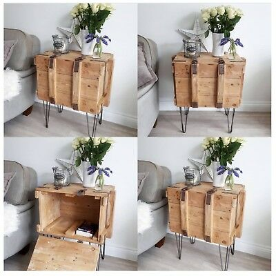 Vintage Old Pine Trunk Chest box Rustic Bedside Cabinet Table Boho Cupboard