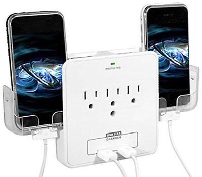 RND Power Solutions Wall Power Station includes 3 AC Plugs & 2 USB Ports with Su