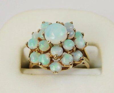 14k Gold Opal Cluster Ring, Mid-20th Century, Vintage Estate