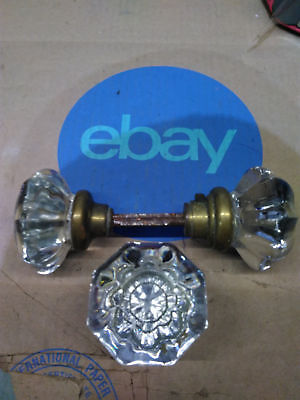 Vintage Glass Door Knobs with Brass Connector & Extra Knob