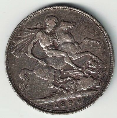 GREAT BRITAIN 1896 LX CROWN QUEEN VICTORIA STERLING SILVER COIN .8409oz