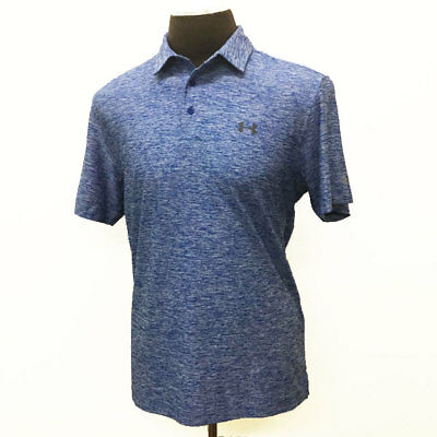 Under Armour Golf Men's Elevated Heather Polo Shirt Royal Blue Large L New 19362