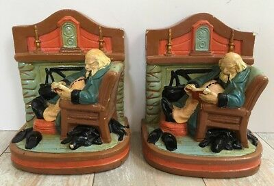 Antique Vintage Armor Bronze Clad G.S. Allen Bookends Man Reading By Fire