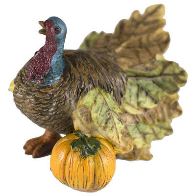 """Miniature Thanksgiving Turkey With Pumpkin Figurine 3"""" Long Resin New in Box"""