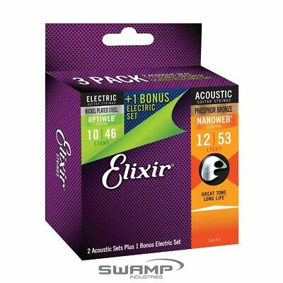 Elixir E16553 Combo 3 Pack Acoustic and Electric Guitar String Sets