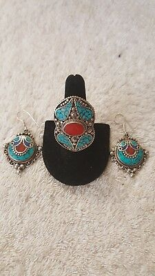 Tibetan Turquoise Red Coral Lapis Lazuli 925 Silver Ring & earring set, ring adj