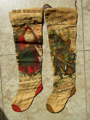 2 lot primitive vintage antique style full size grunged christmas stockings - Primitive Christmas Stockings