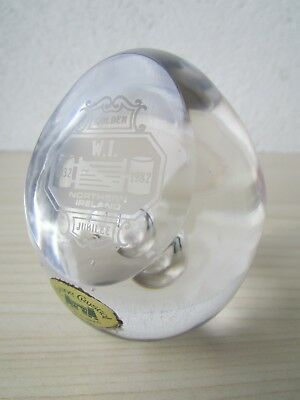 W.i. Northern Ireland Golden Jubilee 1932-1982 Tyrone Crystal Paperweight.