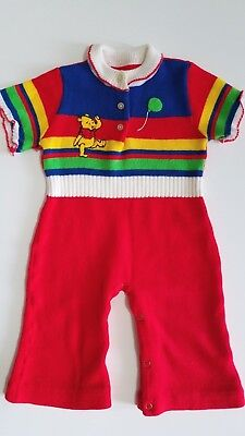 Vintage Winnie The Pooh One Piece Sweater Romper Sz 12-18 Months Sears Disney