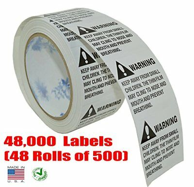 iMBAPrice Suffocation Warning Labels (Made in USA) 24000 Labels (48 Rolls of 50