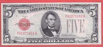 "$5 1928C BEAUTIFUL Red Seal ""AU"" United States Note!             x7a"