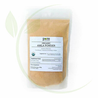 Amla Powder Fine Ground, Certified Organic - 227g (8 oz) in Resealable Bag