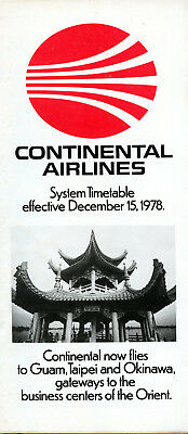 Continental Airlines December 15, 1978 System Timetable