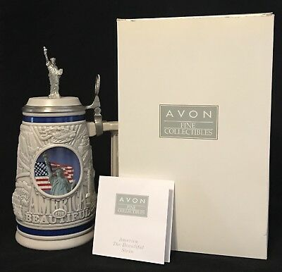 """2002 Avon, """"America The Beautiful"""" Numbered 36416 Collector's Stein, Mint In Box"""