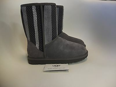UGG Australia Classic Short Woven Suede Charcoal Boot Women's Sizes 5-10 NEW!!!