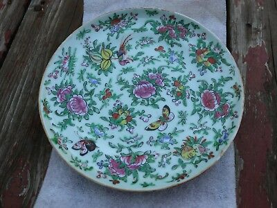 Rare Antique Chinese Celadon Butterflies Birds Rose Canton Export Plate