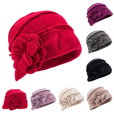 Womens 1920s Gatsby style 100% Wool Soft Bucket Cloche Beanies Winter Hats A376