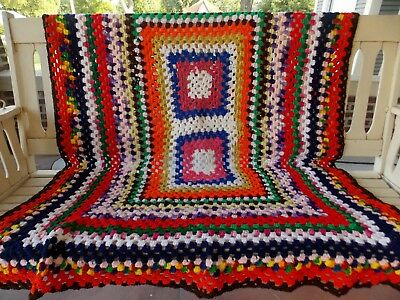 Vintage Hand Made Knitted Crochet Afghan Blanket Throw Granny Square 48 x 58""