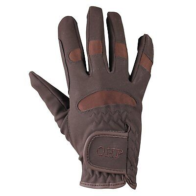 Qhp Multi Unisex Gloves Everyday Riding Glove - Brown All Sizes