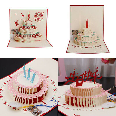 Happy Birthday Card Layered Cake 3d Pop Up Greeting Card Up With