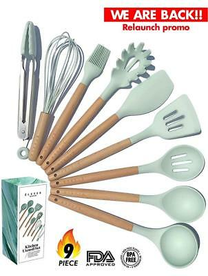Kitchen Utensil Set - NEW 9 Cooking Utensils - Non-stick Silicone and Wooden...