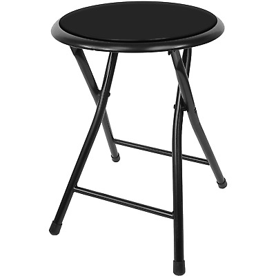 Awesome 18In Round Folding Stool Foldable Cushioned Seat Kitchen Bar Unemploymentrelief Wooden Chair Designs For Living Room Unemploymentrelieforg