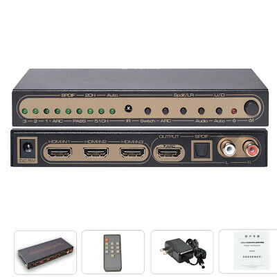 3x1 HDMI Switch HDR With Audio Extractor SPDIF L/R 4K UHD ARC HDMI 2.0 Switcher