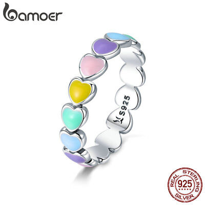 Bamoer Solid 925 Sterling Silver Rainbow Heart Ring Enamel Colorful For Women