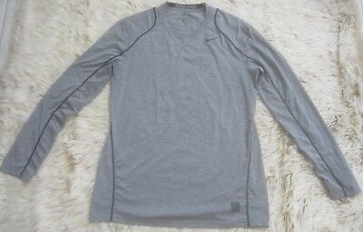 e70f4af85 Nike Men's Pro Heather Long Sleeve Fitted Shirt Size Large Top Gray Gym Dri  Fit