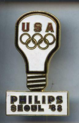 Rare Pins Pin's ..  Olympique Olympic Albertville 1992 Usa 88 Philips  ¤1S