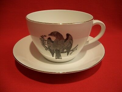 Crown Staffordshire Thomas Bewick~The Roller~1 Pint Jumbo Breakfast Cup & Saucer