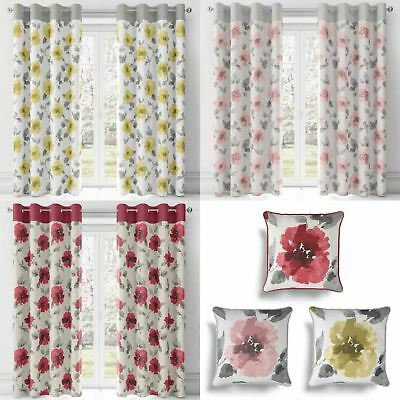 Adrianna Floral Eyelet Curtains Watercolour Flower Ready Made Ring Top Pairs