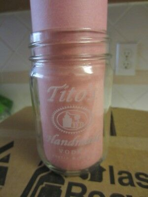 "New Tito's Handmade Vodka Austin Texas Mason Jar 12 oz Glass ""Legal Since 1997"""