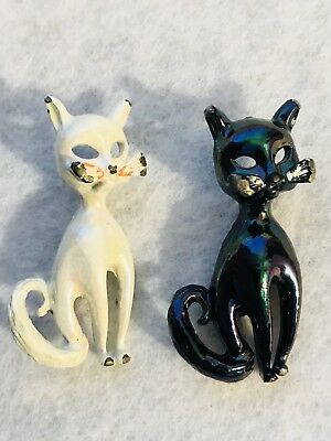 Vintage Pair of 2- 1 Black 1 White  Enamel Figural Cat Brooch Pin 1960's Mid Mod